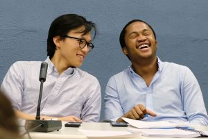 Photo caption: Bo Seo '17  (right) and Fanelesibonge Mashwama '17 in the octo-finals of the World Universities Debating Championship in Greece earlier this month. The pair ultimately won the tournament, which is the world's largest debating competition.  Credit to: James Laird-Smith